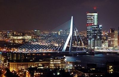 Rotterdam cityscape at night